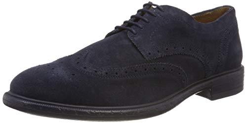 Geox Zapatos de Cordones Brogue para Hombre, Navy