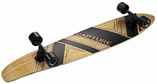 Capture Outdoor, Longboard Bamboo Surf Orca 44', 112 cm, 44,09', Longboard Madera de Arce, Bambú, Carbono ABEC-9, ideal para la velocidad y la deslización, etc.