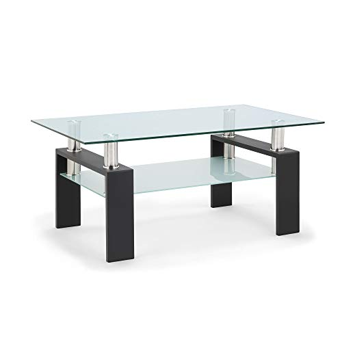 Tempered Glass Coffee Table for Living Room Furniture with 2 Tiers Size 1000X600MM