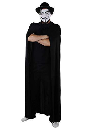 I LOVE FANCY DRESS LTD Hombre ANÓNIMO Disfraz DE Halloween Hombre DE PROTESTA MÁSCARA DE Fawkes + Sombrero Negro + Conjunto DE Accesorios DE Capa Negra DE 5 PIES Libro Semana