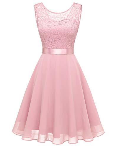 BeryLove Damen Spitzenkleid Brautjungfer Elegant Party Knielang Cocktailkleid Chiffon Ärmellos BLP7005 B-Pink-S