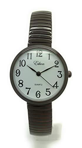 Ladies Kids Small Case Big Numbers Stretch Elastic Band Watch Eikon (Brown)