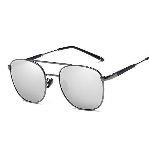 ZLININ Y-longhair - Gafas de sol polarizadas para hombre con marco de metal clásico para conducción al aire libre y pesca, gafas de aviador (color: negro, talla: libre) (color: plata)