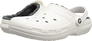 Crocs Unisex Men s and Women s Classic Lined Clog | Fuzzy Slippers White/Grey 9 US