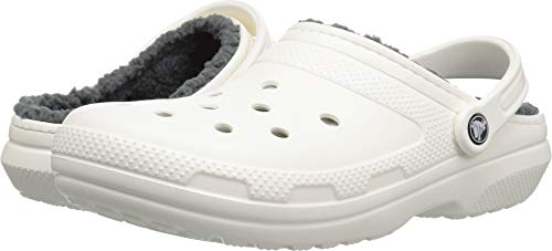 Crocs Unisex Men's and Women's Classic Lined Clog | Fuzzy Slippers, White/Grey, 9 US
