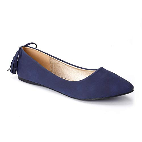 Trary Women s Casual Pointed Toe Slip on Ballet Flat Shoes New Blue 07