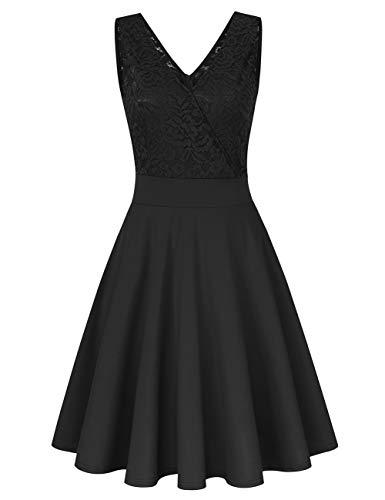 Damen Spitzenkleid Abendkleider Vintage Brautjungfernkleider für Hochzeit Kurzes A-Linie Cocktailkleid (Gr.34-48)(Verpackung MEHRWEG)