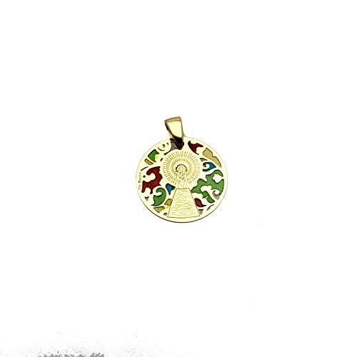 Medalla Virgen del Pilar en Plata de Ley Cubierta de Oro de 18kt y Esmalte