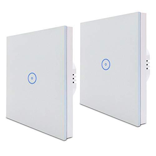 Jinvoo(2 Stück) Wifi Smart Lichtschalter 1 Gang EU Smart Touch Switch, Smart Phone Fernbedienung gehärtetes Glas, Sprachsteuerung, Timing-Funktion arbeitet mit Alexa Echo und Google Assistant(1 Gang)