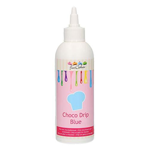 FunCakes Choco Drip Blue: Köstlicher Geschmack, Einfach zu Verwenden, Perfekt für Tropfkuchen, Schöne blaue Farbe. Wiederverschließbare Packung, 230 g