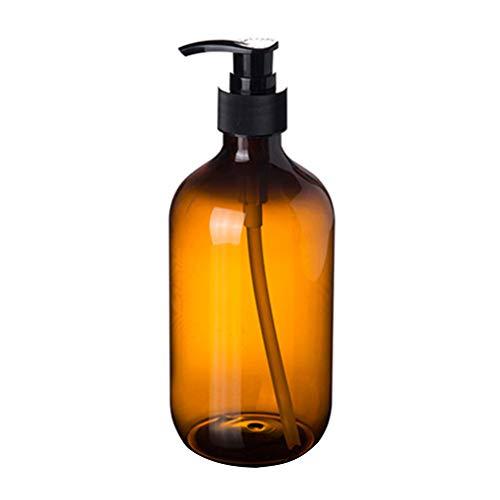 0Miaxudh Botella rellenable, 300/500 ml Loción Champú Soporte de Gel de Ducha Dispensador de Jabón, vacía Botella de Bombeo, plástico, marrón, 500 ml