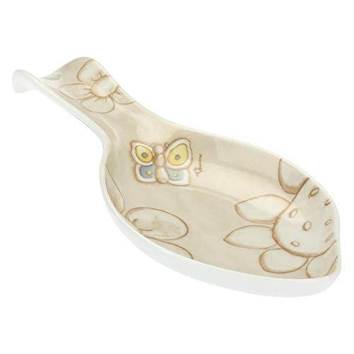 THUN - Poggia Mestoli Decorato con Farfalle e Fiori - Accessori Cucina - Linea Elegance - Porcellana - 23,8 x 12 x 3 h cm