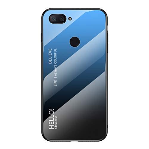 """LUSHENG Capa para celular Xiaomi Mi 8 Lite, cor gradiente, vidro temperado, capa traseira de TPU (poliuretano termoplástico) macio, para Xiaomi Mi 8 Lite (6,2"""") - Azul + Preto"""
