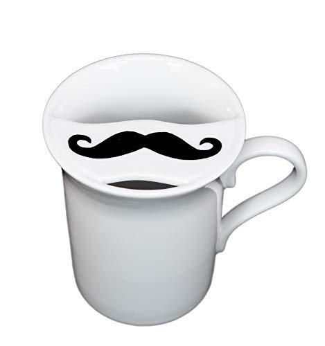 Barttasse Tasse mit Bartschutz Kaffeetasse Becher für Männer für Rechtshänder aus Porzellan
