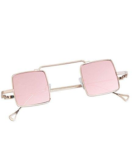 caripe Retro Vintage Sonnenbrille John Lennon Gläser quadratisch verspiegelt + getönt- kvadra5 (gold - rosa verspiegelt)