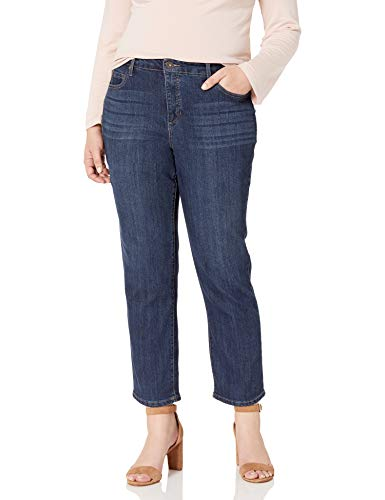 Bandolino Women's Plus Size Mandie 5 Pocket Jean, Greenwich, 18W Short