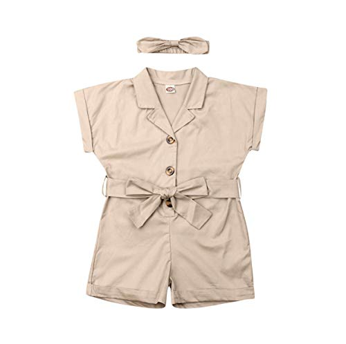 Toddler Newborn Baby Girl Boy Bowknot Short Sleeve Romper Jumpsuit with Headband Kids Bodysuit Overalls Outfits Set (Khaki, 5-6Years)