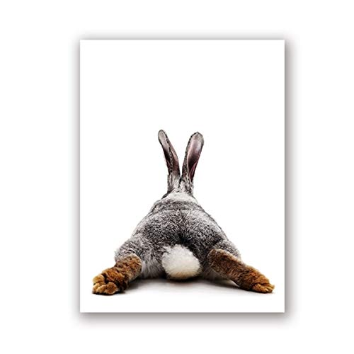 N / A Rabbit Butt Nursery Mural Canvas Painting Nordic Poster Animal Bunny Prints Funny Rabbit Tail Wall Picture Baby Room Frameless Decorative Canvas Painting A99 50x70cm