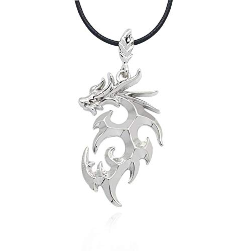 Aztnrwen Dragon Shape Smooth Pendant Necklace for Men Gift Jewelry Neck Chain - Silver