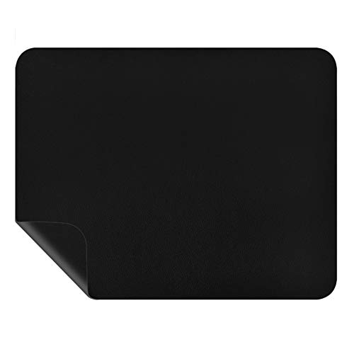 KATUMO Mouse Pad, Dual-Sided Mat Waterproof PU Leather Mousepad Gaming Mouse Mat Medium Size 10.6'x8.2', Ideal for Computer, Laptop, Study, at Office or Home, Black
