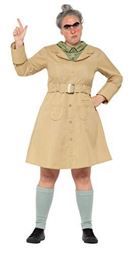 Smiffys 41537S Licensed Dress-Up Roald Dahl Deluxe Miss Trunchbull Kostüm, Damen, beige, S - UK Size 08-10