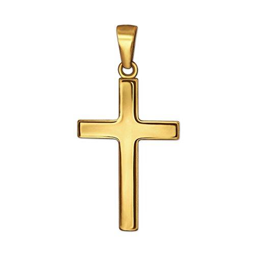 CLEVER SCHMUCK Goldener Anhänger kleines Kreuz 18 mm schlicht glänzend 333 Gold 8 Karat