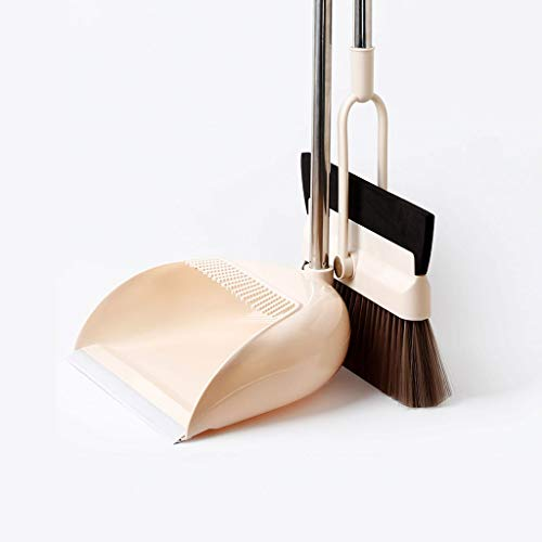 Eva hao Wiper Broom/Dustpan Set, Huishoudelijke Bezem Combinatie Bezem Wiper, Lange Handvat Roestvrij Staal Roterende Bezem Hoofd - H108cm