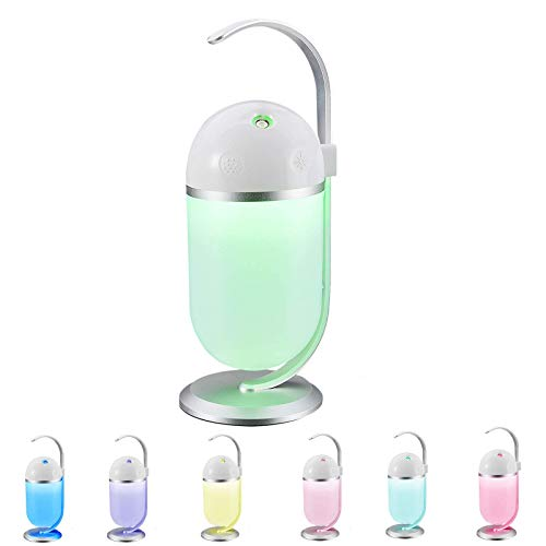 Mini Portable Visible Ultrasonic Cool Mist Humidifiers, Optional Night Light 6 Colors changing for Bedrooms, Baby Rooms, Auto-Shut Off, 500ML/ 0.14 Gallon Tank for 16 Hours of Moisturized Air