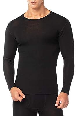 LAPASA Men's 100% Merino Wool Thermal Underwear Top Crew Neck Base Layer Long Sleeve Undershirt M29 (Medium, Black.)