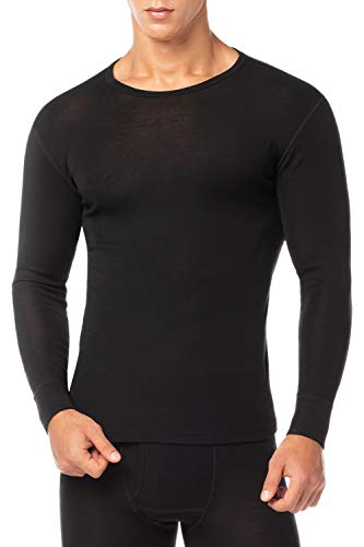 Lapasa Mens 100% Merino Wool Base Layer Thermal Shirt Underwear Long Sleeve Crew Neck Thermal Top M29, Black, Large