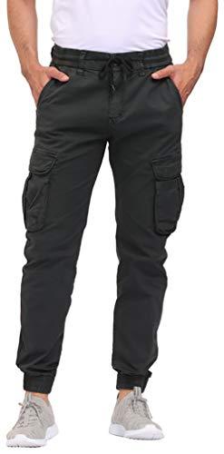 DOBOLY Men's Cargo Pants Zipper Pockets Athletic Pants Elastic Waist Casual Jogger Pants(38,Black)