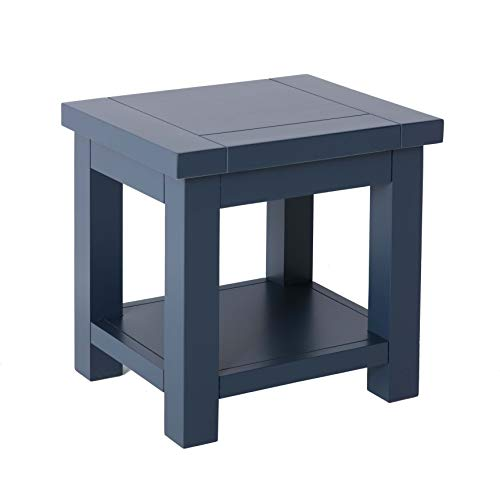 Cheltenham Blue Square Lamp Table with Shelf | Roseland Furniture Small Low Painted Wooden Side End Sofa Table for Living Room, Hallway or Bedroom | Fully Assembled