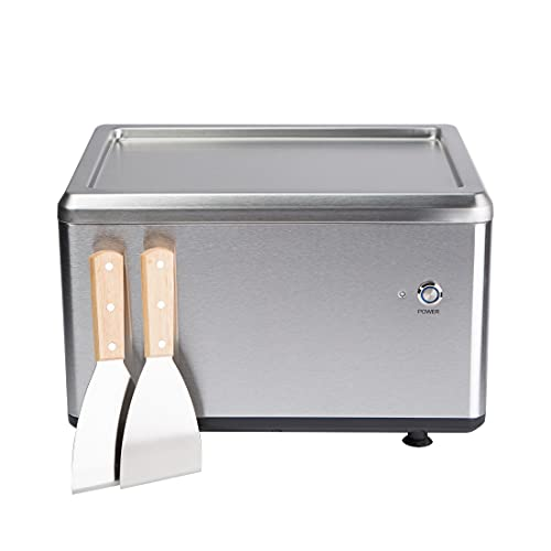 Ultratec Roll-Eismaschine, bereitet leckeres Eis für Ice Cream Rolls in nur 3 Minuten zu, Bedienung über eine Taste, vielfältige Sortenwechsel möglich, inkl. 2 Metallspachteln