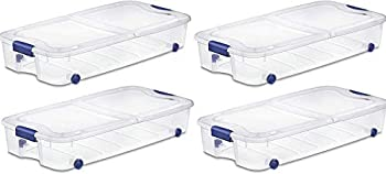 4-Pack Under Bed Plastic Storage Bin Unit Boxes Are Containers For Clothes Books Diapers Shoes Linen Office Supplies Camping RV Pantry Foods 66 Quart Capacity