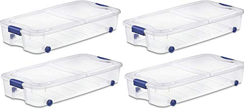 4-Pack Under Bed Plastic Storage Bin Unit Boxes Are Containers For Clothes, Books, Diapers, Shoes, Linen. Office Supplies, Camping, RV, Pantry Foods 66 Quart Capacity