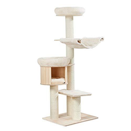 WFDA Katzen-Baum Kratzbaum mit Sisal-Covered Kratz Plüsch Condo Hammock Perches Plattform baumelnden Bälle for Kätzchen Haustiere Katzen Plüsch Condo Nest Basket Perch Platform