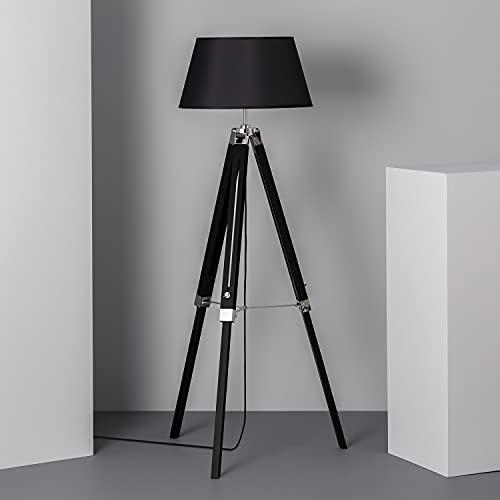 LEDKIA LIGHTING Lámpara de Pie Naweza 1440x650x650 mm Negro E27 Casquillo Gordo Aluminio - Madera Decoración Salón, Habitación, Dormitorio