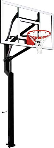 Goalsetter All-Star In Ground Adjustable Basketball System with 54-Inch Glass Backboard and Double Static Rim, Black (SS45554G2)
