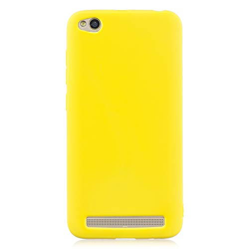 cuzz Funda para Xiaomi Redmi 5A+{Protector de Pantalla de Vidrio Templado} Carcasa Silicona Suave Gel Rasguño y Resistente Teléfono Móvil Cover-Amarillo