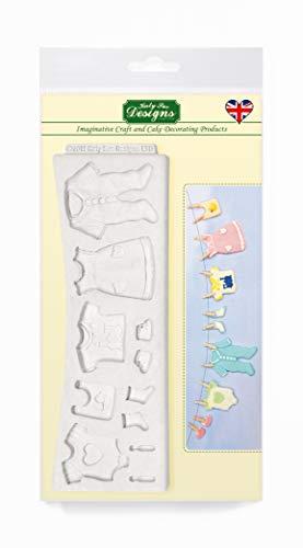 Línea de lavado de ropa para bebés Molde de silicona, cubos para decoración de pasteles, manualidades, cupcakes, Sugarcraft, dulces, tarjetas, jabones y arcilla, alimentos seguros, hecho en el Reino Unido