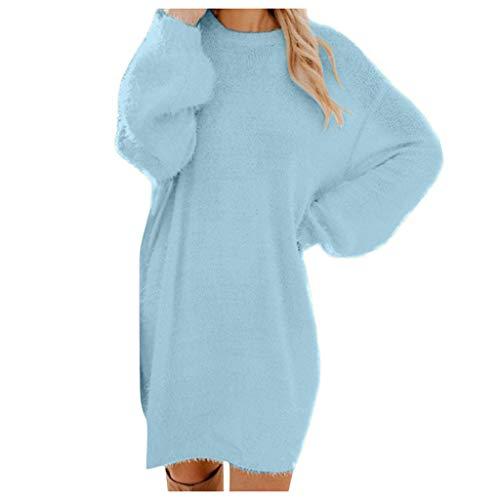 Damen Lang Faux Teddy Fleece Pullover Pulloverkleid Frauen Langarm Kleid Wollkleid Wollpullover, Herbst Winter Warme Elegante Sweater Cardigan Oversize Winterpullover Winterkleid