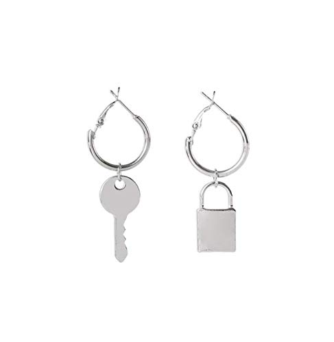 Pendientes de círculo geométrico con cierre de llave de metal con personalidad asimétrica minimalista
