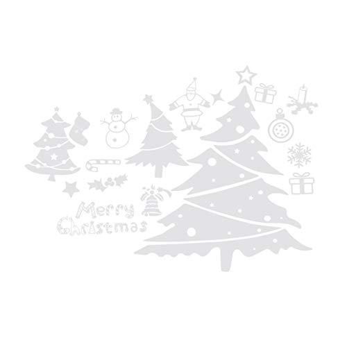 Amosfunx - Pegatinas extraíbles para ventana, diseño de renos, copos de nieve, Sana Claus árbol de Navidad, decoración de la pared, decoración del hogar (estilo NO.)