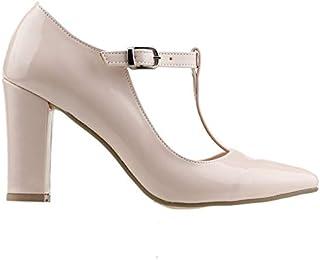 Ayakland 137029-343 8,5 Cm Topuk Bayan Rugan Sandalet Ayakkabı Pudra