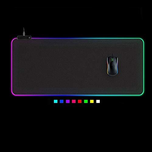 LED LIGHT GAMING MOUSE PAD RGB Teclado grande Cubierta de goma antideslizante COMPUTADORA DE COMPACIDAD COMPUTADORA DE ALFOMBRA DE LA MAT PC Juego de la alfombrilla de ratón (Color : 400x900x4mm)
