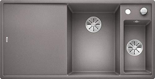 BLANCO 523474Axia III 6S 6S Silgranit PuraDur con telecomando per scarico, con tagliere di vetro piatto destro alumetallic, Alluminio Metallizzato