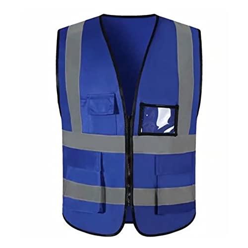 Chaleco de seguridad reflectante de alta visibilid Chaleco de seguridad reflectante con lata, luz de neón especial, cremallera de naranja frontal, medio Chalecos de seguridad para hombres mujeres