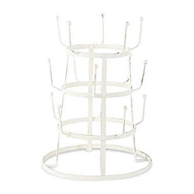 DII Z01865 Home Traditions 3 Tier Countertop Or Pantry Vintage Metal Wire Tree Stand for Coffee Glasses, and Cups, 15 Mug Capacity, Antique White, 9.5x12.8