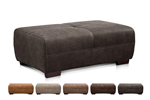 Cavadore Hocker Mavericco / XXL Sofa-Hocker in Lederoptik / Industrial Style / Passend zu Big Sofa und Ecksofa Mavericco / 108 x 71 x 41 cm (BxHXT) / Mikrofaser Anthrazit