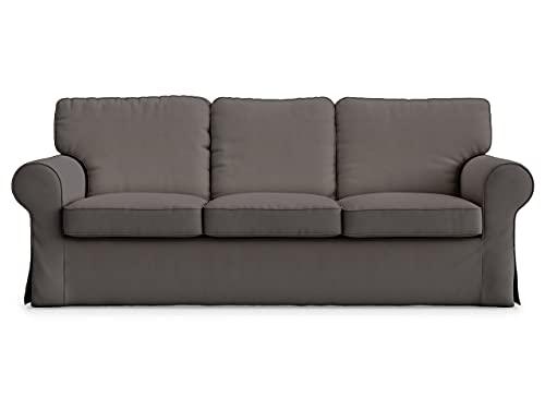 Masters of Covers Funda para Sofá de 3 Plazas IKEA Ektorp, Hecho a Mano, Funda Protectora para el Sofá, Un Nuevo Look para Tu Viejo Sofá, 218 cm x 88 cm x 73 cm (Gris Oscuro, Algodón)